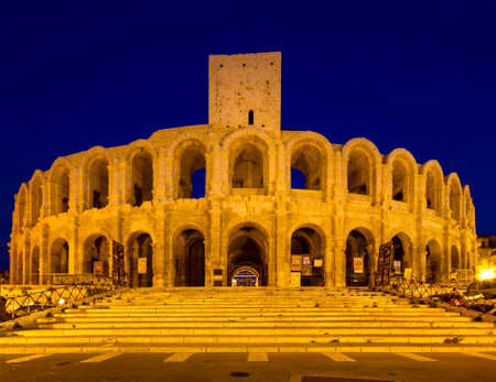 Amphitheater of Arles at twilight, Provence, France