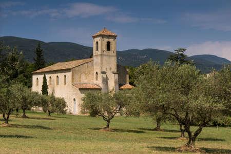 lourmarin: Medieval church in an Olive Grove, Lourmarin, Provence, France