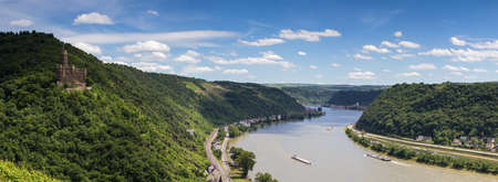 rhein: Panorama of the Rhine valley with medieval castle Maus, Germany Editorial