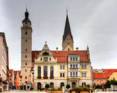 Town hall and market church of Ingolstadt, Bavaria, Germany Stok Fotoğraf - 24472008