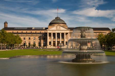 hessen: Kurhaus Wiesbaden with fountain - Long Exposure Version, Hessen, Germany Editorial