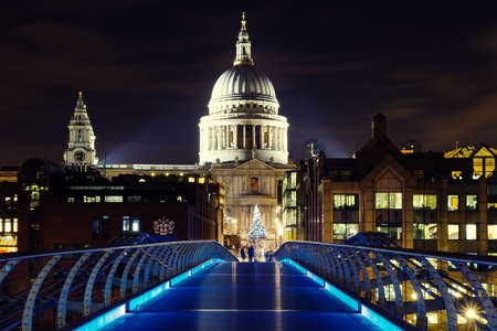 Illuminated St  Pauls Cathedral with Christmas Tree, London, England photo