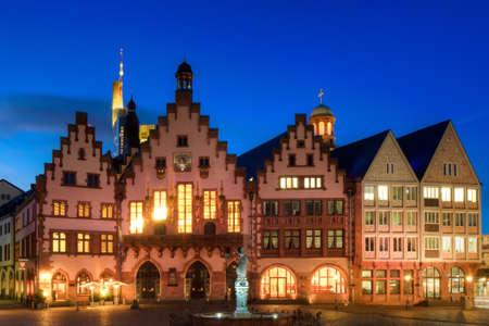 roemerberg: Town Hall of Frankfurt at twilight, Hessen, Germany