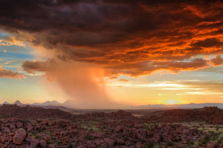 Thunderclouds at sunset over Damaraland, Namibia, Africa