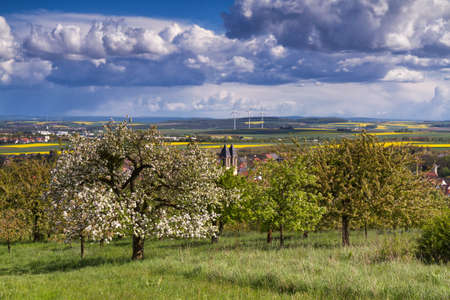 hessen: Viewpoint over Ockstadt and the Wetterau in spring, Hessen, Germany
