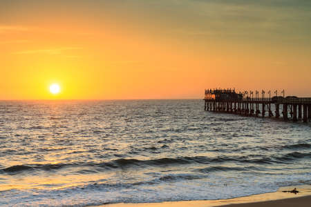 Pier of Swakopmund at sunset, Namibia, Africa Stock Photo