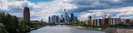 hessen: Panorama of Frankfurt under a prtly cloudy sky, Hessen, Germany Stock Photo