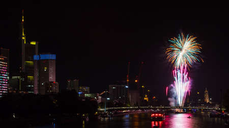 main river: FRANKFURT, GERMANY - August 31, 2014: The Museumsuferfest is a yearly cultural event at the Main river closing with a firework. Editorial