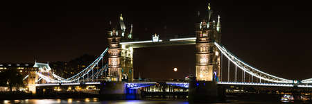 Panorama of Tower Bridge at night, London, England Stock Photo