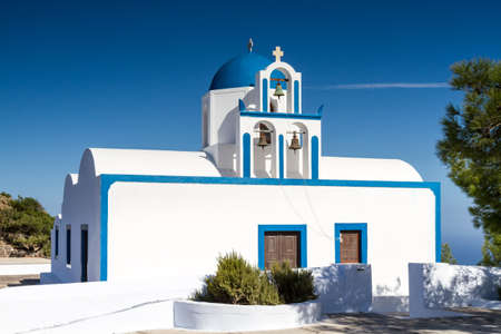 cycladic: Cycladic church at Santorini, Greece Stock Photo