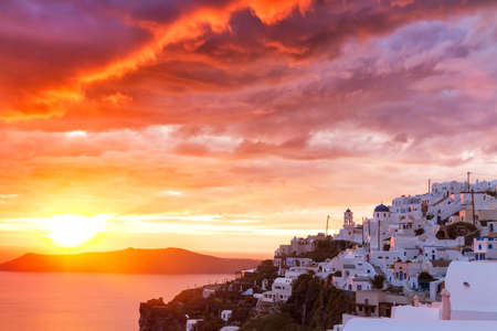 cycladic: Sunset at cycladic village Imerovigli, Santorini, Greece