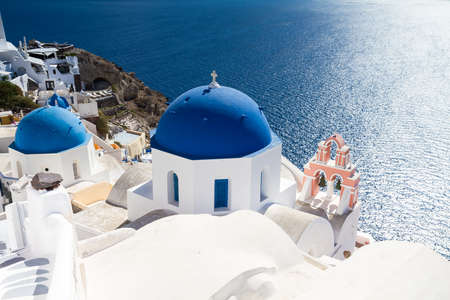 cycladic: Cycladic church of Oia, Santorini, Cyclades, Greece Stock Photo