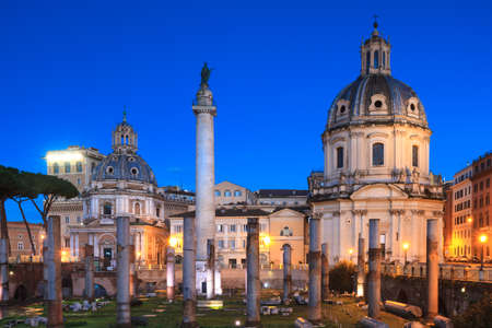 blue hour: Forum of Trajan during the blue hour with Trajans column and Santa Maria di Loreto, Rome, Italy