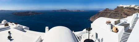 firostefani: Panorama of the caldera of Santorini as seen from Firostefani Stock Photo