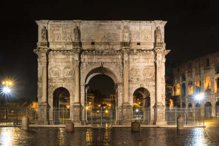 nightshot: Arch of Constantine at night, Rome, Italy