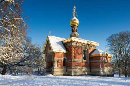 hessen: Russian chapel in the snow, Bad Homburg, Hessen, Germany