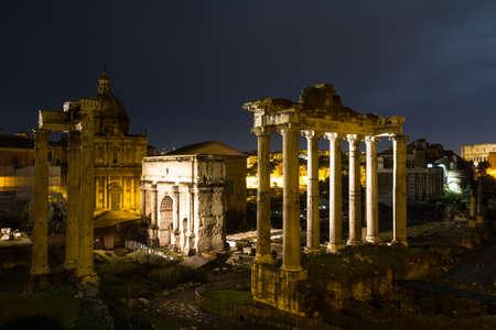 severus: Temples and Arches at night, Forum Romanum, Rome, Italy