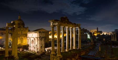 severus: Panorama of the Forum Romanum at night, Rome, Italy Stock Photo