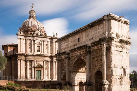 severus: Arch of Septimius Severus  and church Santi Luca e Martina at the Forum Romanum, Rome, Italy