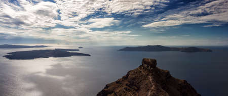 cyclades: Panorama of the Santorini volcano, Cyclades, Greece Stock Photo