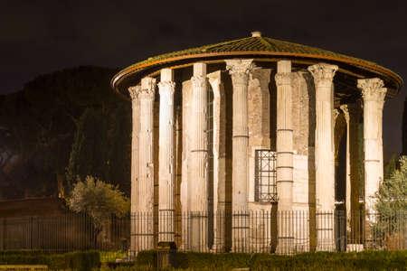 hercules: Roman Hercules temple at night, Rome, Italy