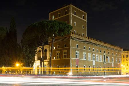 venezia: Palazzo Venezia at night, Rome, Italy Editorial