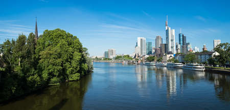 hessen: Panorama of Frankfurt in the morning light Hessen Germany Stock Photo