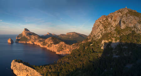 baleares: Panorama of Cap Formentor in the late afternoon sun Mallorca Baleares Spain Stock Photo