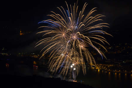 rhine: Firework above the rhine valley, Bingen, Germany
