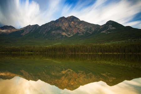 long lake: Pyramid lake reflections - Long Exposure version, Alberta, Canada