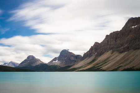 long lake: Bow Lake - Long exposure version, Icefields Parkway, Alberta, Canada
