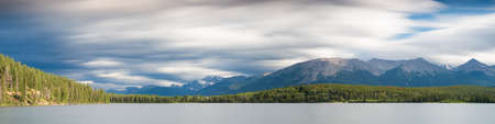 long lake: Panorama of Pyramid Lake - Long exposure version, Alberta, Canada