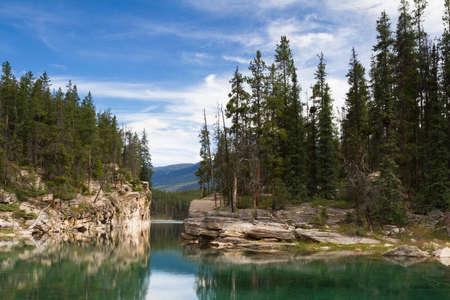 alberta: Reflections at Horseshoe Lake, Icefields Parkway, Alberta, Canada Stock Photo