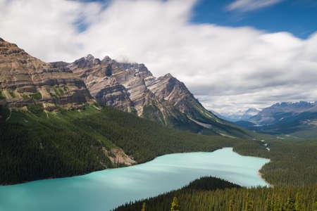 long lake: Vista over Peyto Lake - Long exposure version, Icefields Parkway, Alberta, Canada Stock Photo