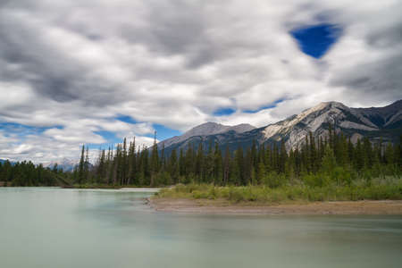 alberta: Athabasca river near Jasper - Long exposure version, Alberta, Canada