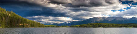 worl: Panorama of Pyramid Lake, Jasper National Park, Alberta, Canada