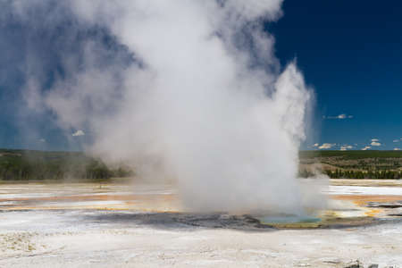volcanism: Eruption of Clepsydra Geyser, Yellowstone National Park, Wyoming, USA Stock Photo