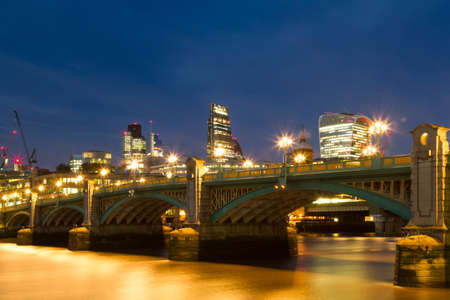 southwark: Blue hour at the Southwark Bridge, London, England