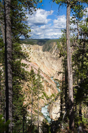 volcanism: Yellowstone Canyon as seen from the Grand View lookout, Wyoming, USA Stock Photo