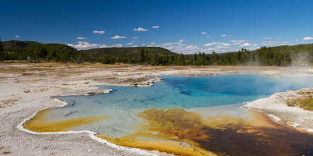 volcanism: Sapphire Pool at Biscuit Basin, Yellowstone National Park, Wyoming, USA Stock Photo