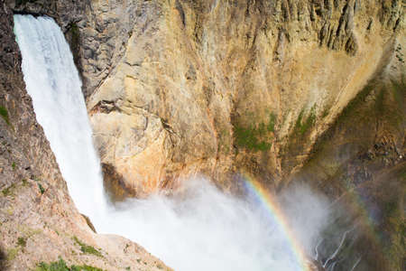 lower yellowstone falls: Rainbow at the Lower Falls of the Yellowstone river, Wyoming, USA