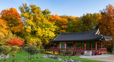 hessen: Korean park of Frankfurt in autumn, Hessen, Germany Stock Photo