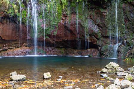 25: 25 fountain waterfall at Rabacal, Madeira, Portugal