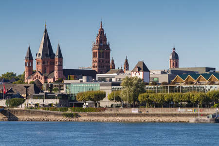 Cathedral of Mainz at the rhine river, Germany Stock Photo