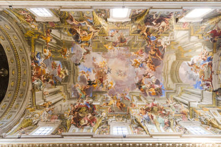 ROME, ITALY - March 25, 2016: The grandiose fresco of SantIgnazio painted by Andrea Pozzo  that stretches across the nave ceiling (after 1685). Editorial