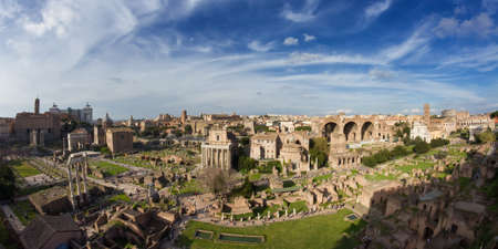 ''wide angle'': Panorama of the Forum Romanum - Wide Angle version, Rome, Italy Stock Photo