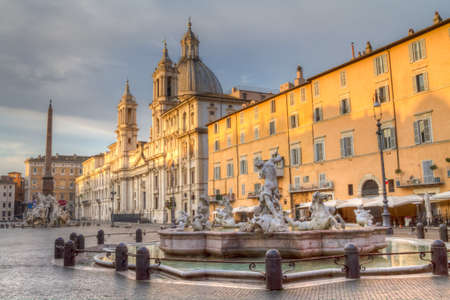 Piazza Navona in the early morning light, Rome, Italy Stock Photo