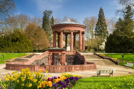 hessen: Temple in the park of Bad Homburg in spring, Hessen, Germany Stock Photo