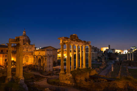 morning blue hour: Twilight at the Forum Romanum, Rome, Italy Stock Photo