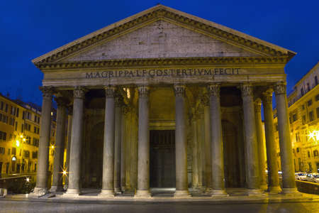 morning blue hour: Facade of the Pantheon at the blue hour, Rome, Italy